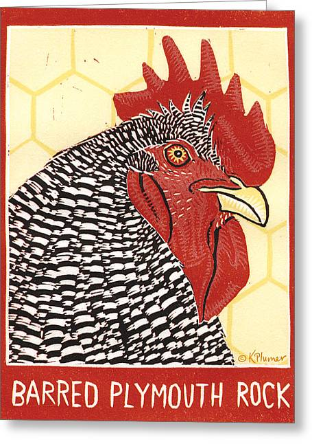 Plymouth Rock Greeting Cards - Barred Plymouth Rock Greeting Card by Katherine Plumer