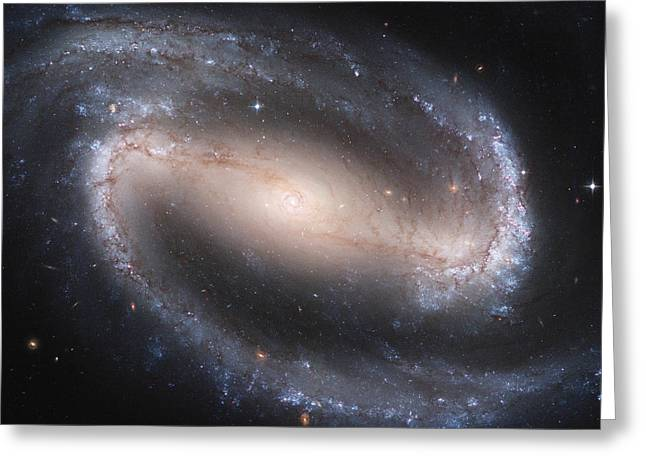 Interstellar Space Paintings Greeting Cards - Barred Spiral Galaxy Greeting Card by Nasa