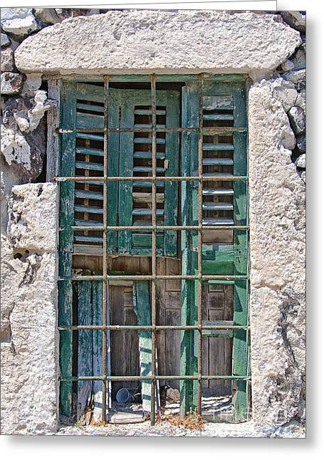 Broken Shutters Greeting Cards - Barred Window Santorini Greeting Card by Antony McAulay