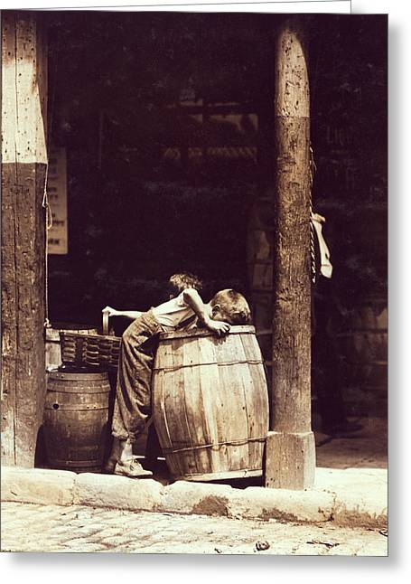 Scavenge Greeting Cards - BARREL BOYS of NEW YORK - 1910 Greeting Card by Daniel Hagerman
