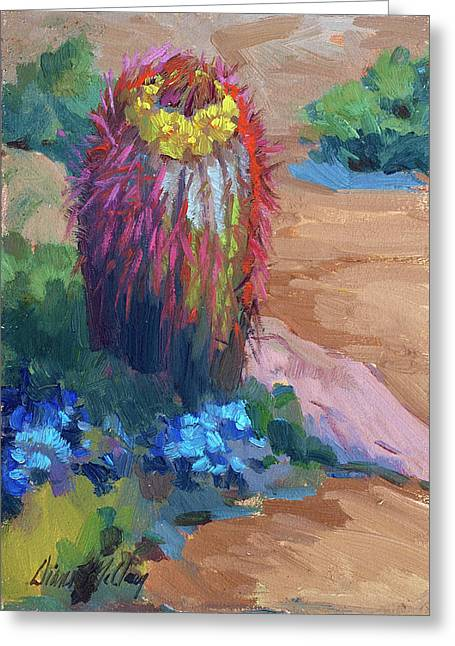 Barrels Greeting Cards - Barrel Cactus In Bloom Greeting Card by Diane McClary