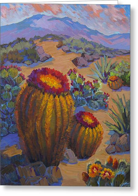 Pink Clouds Greeting Cards - Barrel Cactus in Warm Light Greeting Card by Diane McClary