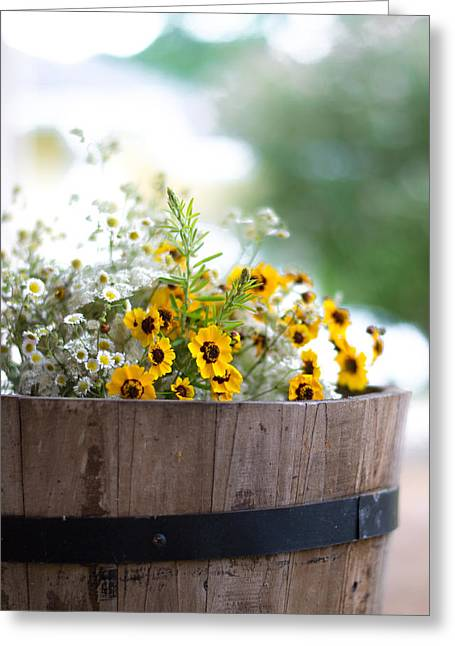 Weed Line Greeting Cards - Barrel of Wildflowers Greeting Card by Shelby  Young