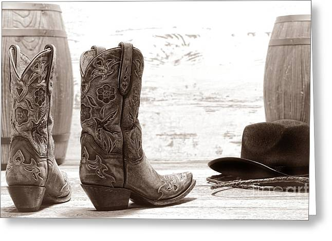 Fancy Boots Greeting Cards - Barrel Racing Greeting Card by American West Legend By Olivier Le Queinec