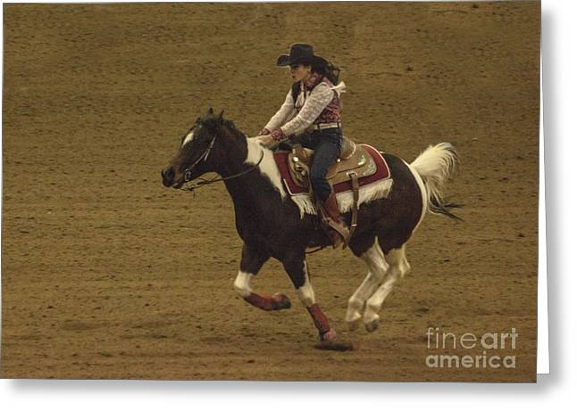 West Greeting Cards - Barrel Racing Cowgirl-National Western Stock Show Colorado Greeting Card by Janice Rae Pariza