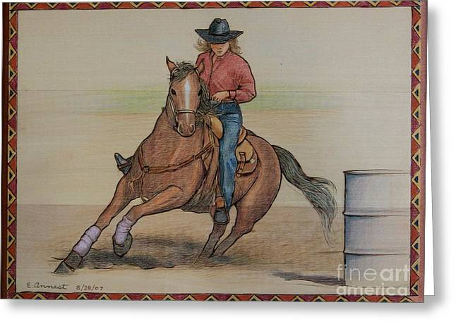 Barrel Pyrography Greeting Cards - Barrel Racing Greeting Card by Eileen Annest