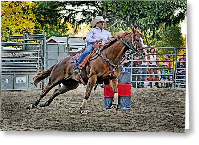 Rodeo Greeting Cards - Barrel Racing Queen  Greeting Card by Gary Keesler