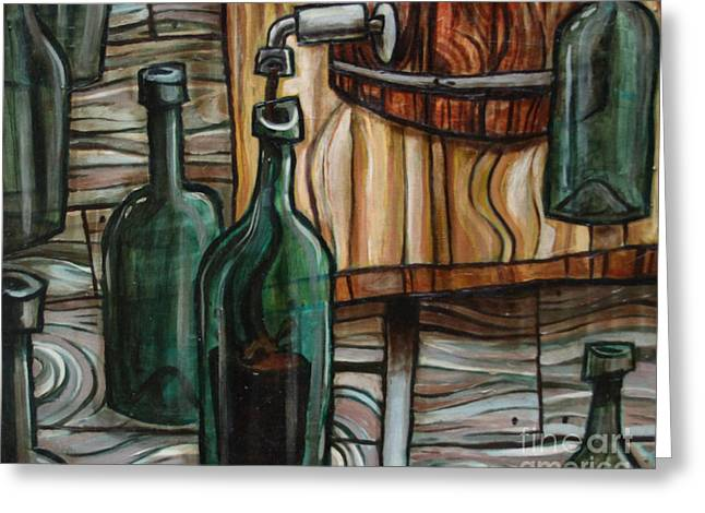 Wood Grain Greeting Cards - Barrel to Bottle Greeting Card by Sean Hagan