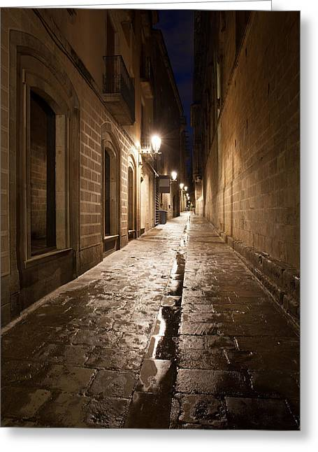 Old Home Place Greeting Cards - Barri Gotic in Barcelona Greeting Card by Artur Bogacki