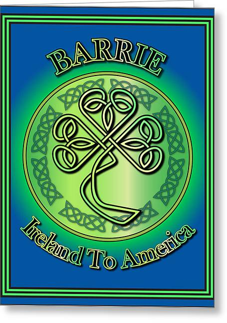 Barrie Greeting Cards - Barrie Ireland to America Greeting Card by Ireland Calling