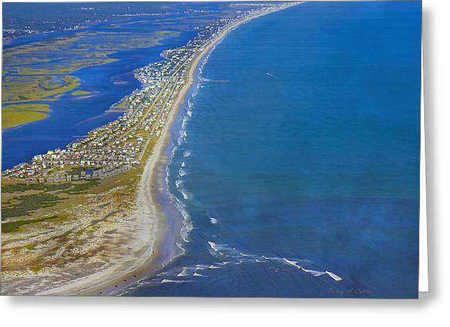 Magic Time Greeting Cards - Barrier Island Aerial Greeting Card by Betsy A  Cutler