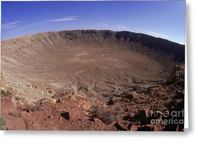 Meteor Greeting Cards - Barringer Crater, Fisheye View Greeting Card by Gregory G. Dimijian, M.D.