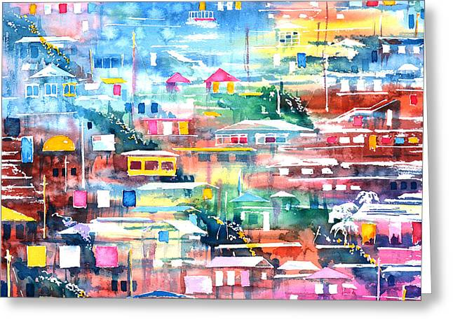 Popular Art Greeting Cards - Barrio el Cerro de Yauco Greeting Card by Zaira Dzhaubaeva