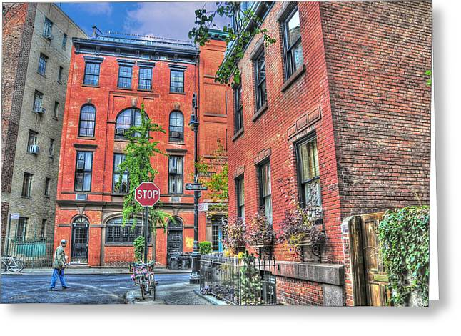 Townhouses Greeting Cards - Barrow Street Stroll Greeting Card by Randy Aveille