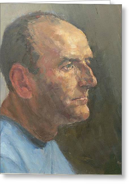 Pensive Greeting Cards - Barry, 2008 Oil On Canvas Greeting Card by Pat Maclaurin