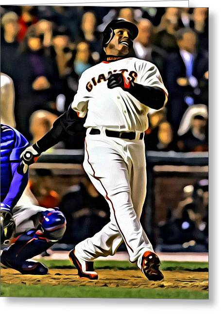 Sf Giants Greeting Cards - Barry Bonds Canvas Greeting Card by Florian Rodarte