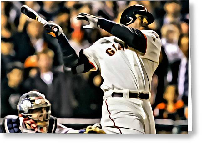 Sf Giants Greeting Cards - Barry Bonds Painting Greeting Card by Florian Rodarte