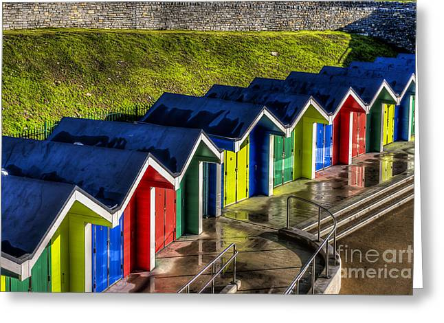 Vale Greeting Cards - Barry Island Beach Huts 1 Greeting Card by Steve Purnell