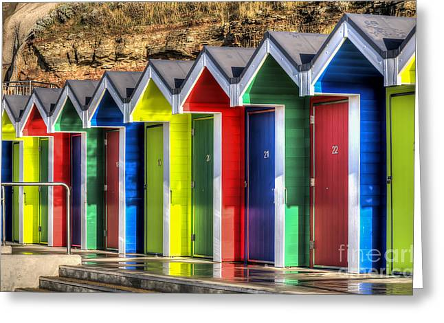 Vale Greeting Cards - Barry Island Beach Huts 10 Greeting Card by Steve Purnell