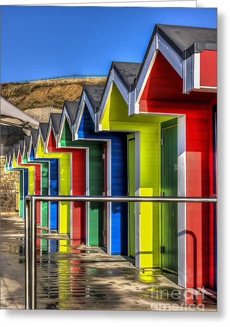 Vale Greeting Cards - Barry Island Beach Huts 12 Greeting Card by Steve Purnell