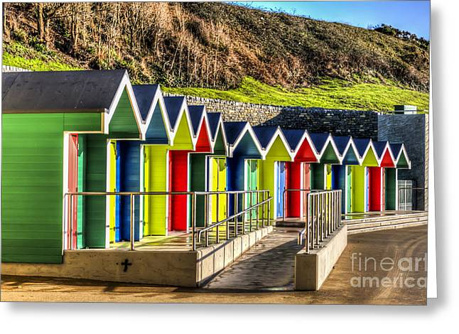 Vale Greeting Cards - Barry Island Beach Huts 14 Greeting Card by Steve Purnell