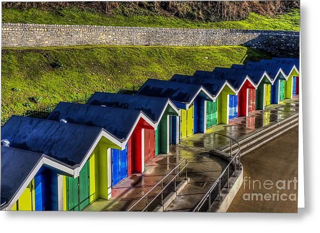 Vale Greeting Cards - Barry Island Beach Huts 2 Greeting Card by Steve Purnell