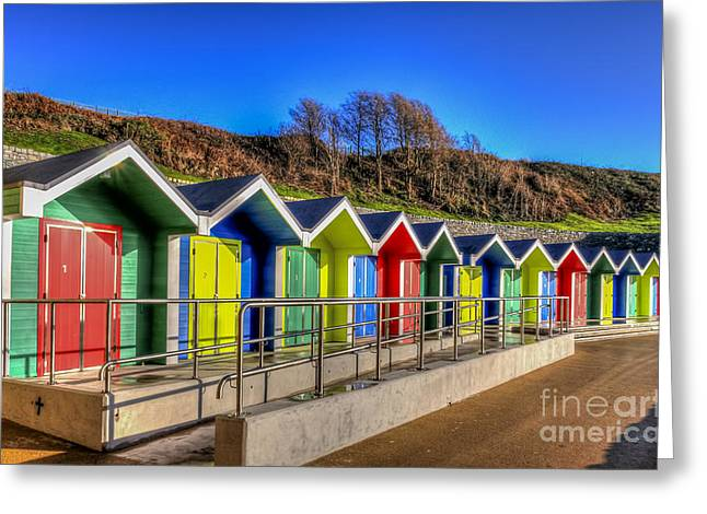 Vale Greeting Cards - Barry Island Beach Huts 3 Greeting Card by Steve Purnell