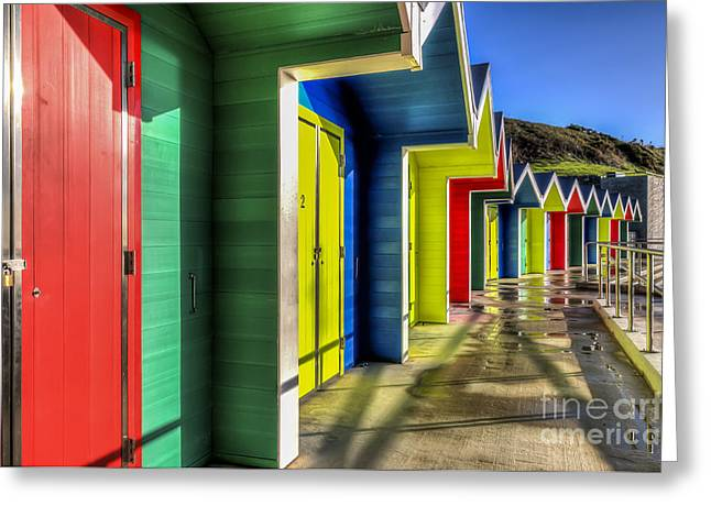 Vale Greeting Cards - Barry Island Beach Huts 4 Greeting Card by Steve Purnell