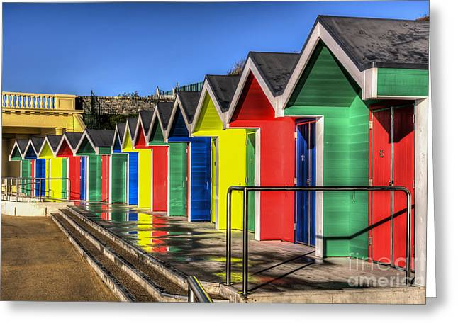 Vale Greeting Cards - Barry Island Beach Huts 6 Greeting Card by Steve Purnell