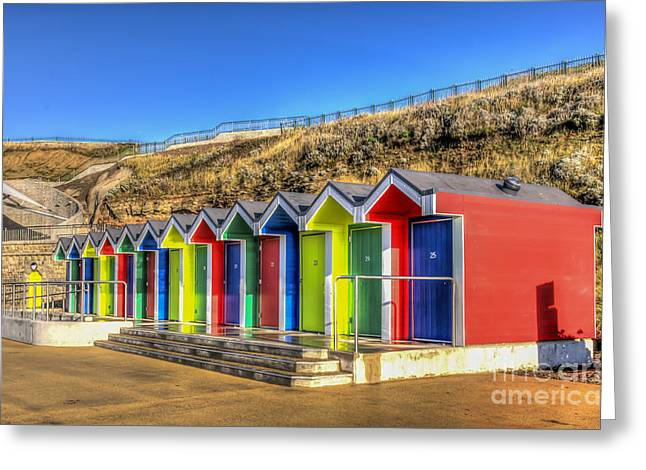 Vale Greeting Cards - Barry Island Beach Huts 9 Greeting Card by Steve Purnell