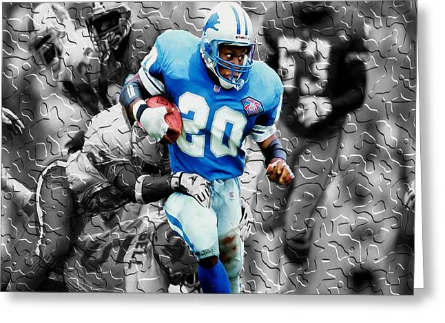 Vince Digital Greeting Cards - Barry Sanders Breaking Out Greeting Card by Brian Reaves