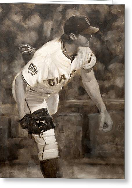 Sf Giants Greeting Cards - Barry Zito - Redemption Greeting Card by Darren Kerr