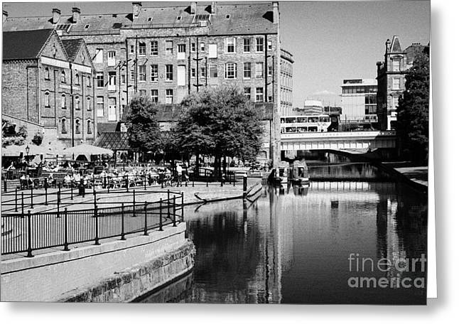 Nottingham Greeting Cards - Bars And Restaurants In Redeveloped Area Of Nottingham City Canal Nottingham England Greeting Card by Joe Fox