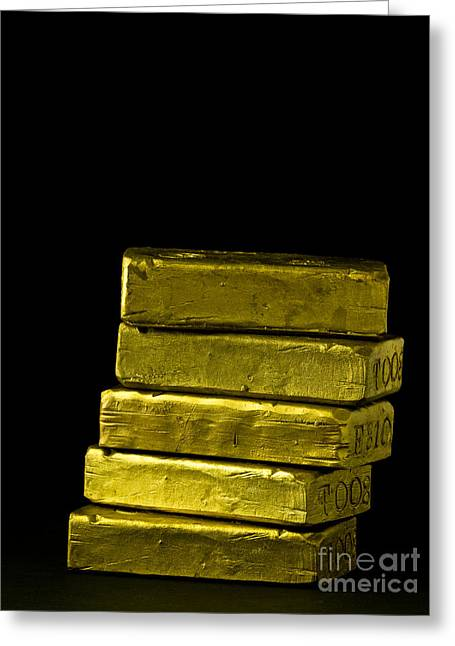 Banker Greeting Cards - Bars of Gold Greeting Card by Edward Fielding