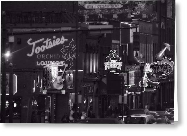 Streetlight Greeting Cards - Bars On Broadway Nashville Greeting Card by Dan Sproul