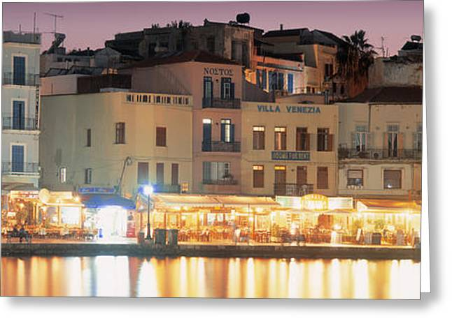 Crete Greeting Cards - Bars On The Waterfront, Crete, Greece Greeting Card by Panoramic Images
