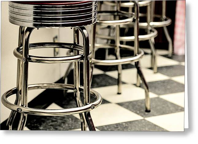 Barstools of vintage roadside diner Greeting Card by Phillip Rubino