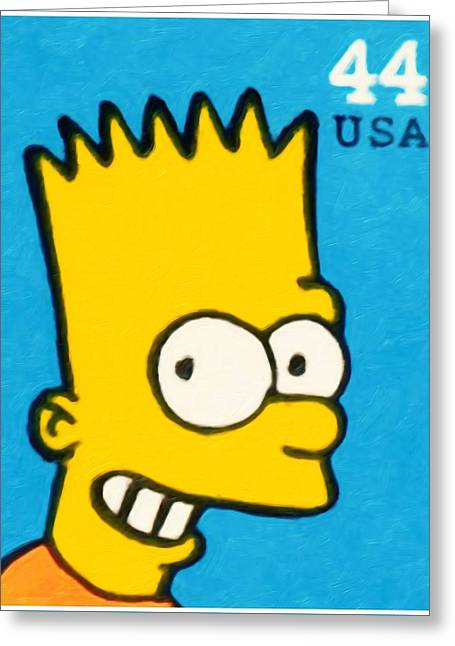 Canadian Culture Paintings Greeting Cards - Bart Simpson Greeting Card by Lanjee Chee