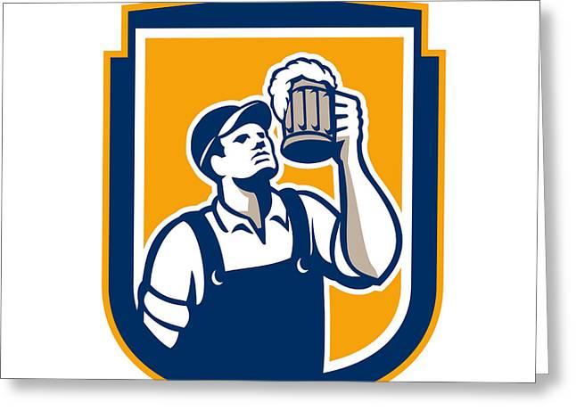 Toasting Digital Greeting Cards - Bartender Toast Beer Mug Shield Retro Greeting Card by Aloysius Patrimonio