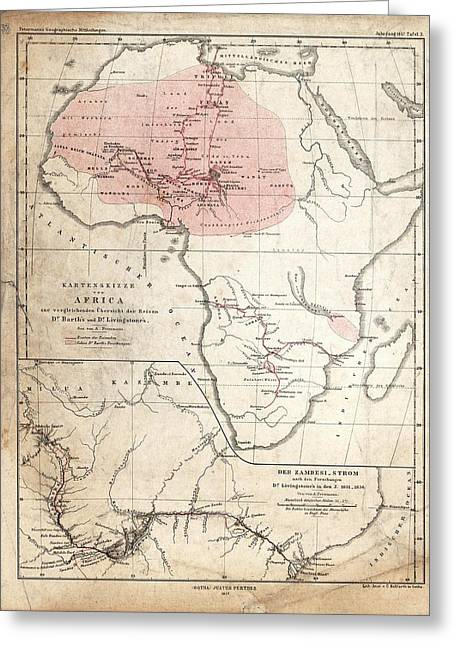 Barth And Livingstone's Africa Greeting Card by Library Of Congress, Geography And Map Division