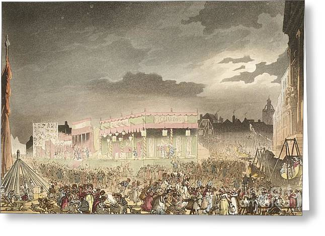 Sociology Greeting Cards - Bartholomew Fair, 1808 Greeting Card by British Library