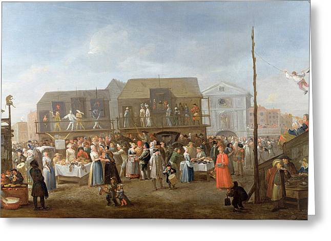 Bartholomew Fair Oil On Canvas Greeting Card by Egbert van Heemskerck
