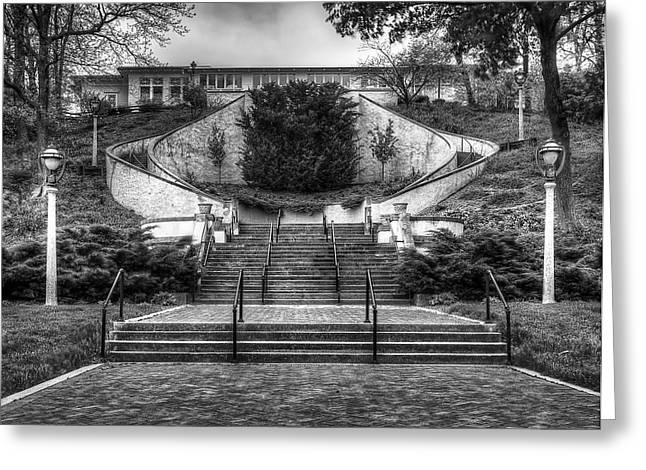 Stair-rail Greeting Cards - Bartolottas Lake Park Bistro Greeting Card by Scott Norris
