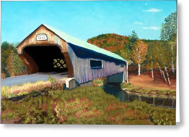 Covered Bridge Pastels Greeting Cards - Bartonsville Covered Bridge Greeting Card by David Henderson