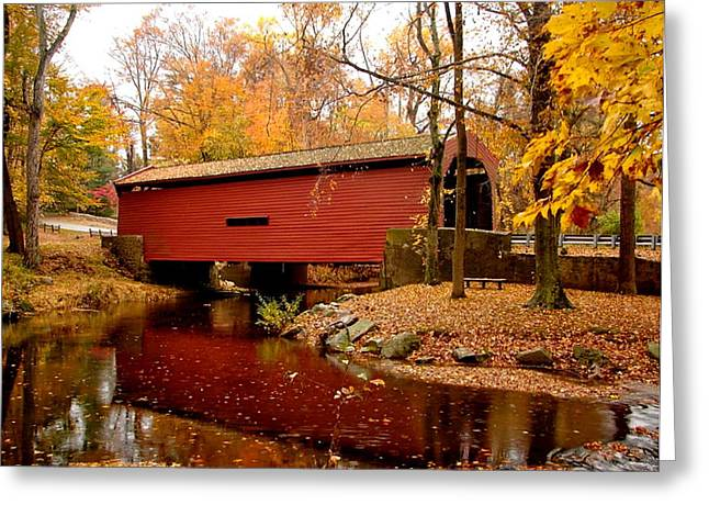 Funds Mixed Media Greeting Cards - Bartrams Covered Bridge Greeting Card by L Brown