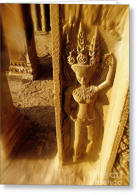 Wat Angkor Greeting Cards - Bas relief Angkor Wat Cambodia Greeting Card by Ryan Fox