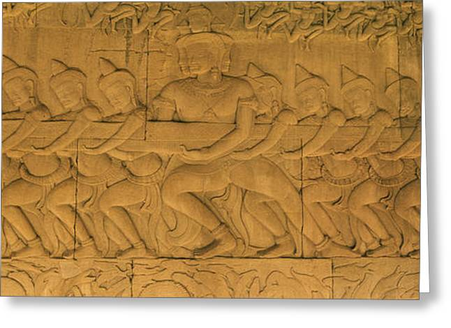 Archaeology Sculpture Greeting Cards - Bas Relief In A Temple, Angkor Wat Greeting Card by Panoramic Images