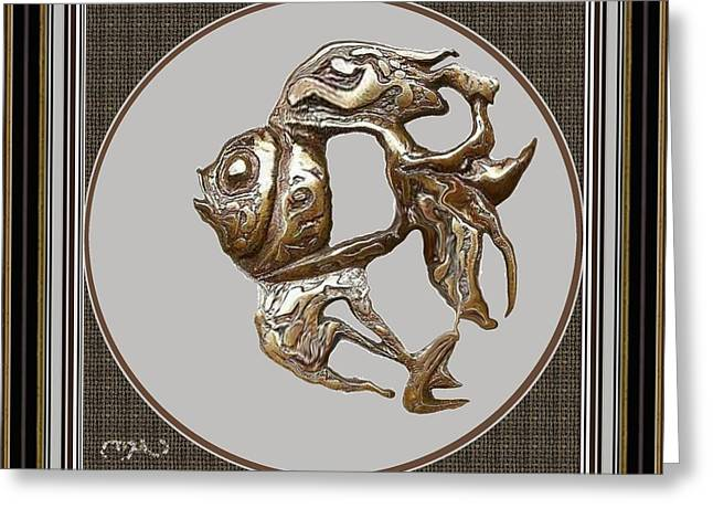 Statue Portrait Reliefs Greeting Cards - Bas-relief of fish 1BROF2 Greeting Card by Pemaro