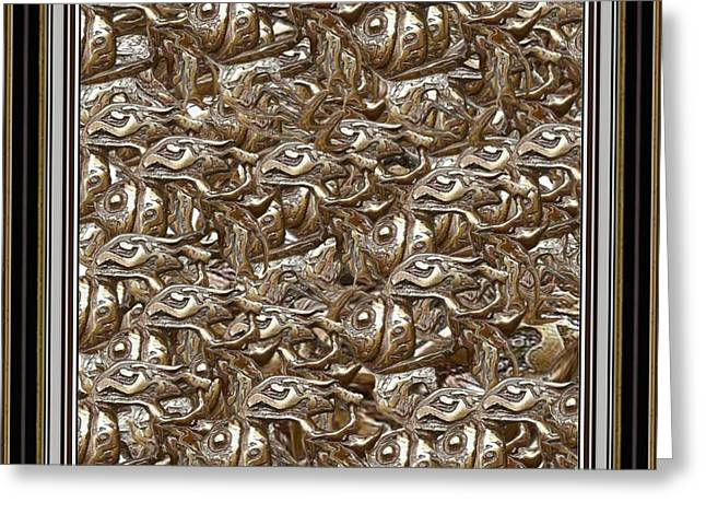 Abstract Digital Reliefs Greeting Cards - Bas-relief of fish 2BROF2 Greeting Card by Pemaro