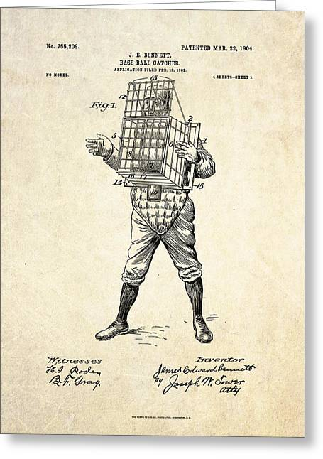 Baseball Art Greeting Cards - 1904 Base Ball Catcher Patent Art Greeting Card by Gary Bodnar